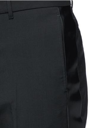 细节 - 点击放大 - Valentino - 条纹拼接羊毛混马海毛及踝裤