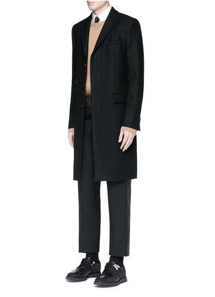 模特儿示范图 - 点击放大 - Valentino - 条纹拼接羊毛混马海毛及踝裤