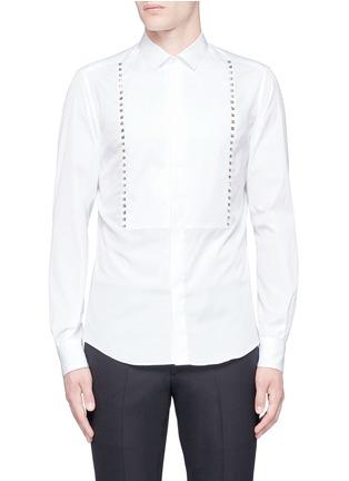 首图 - 点击放大 - Valentino - 条纹拼贴铆钉纯棉衬衫