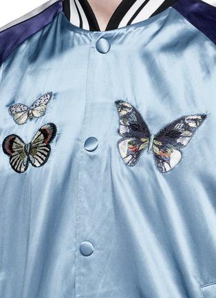 细节 - 点击放大 - VALENTINO - 蝴蝶刺绣缎面棒球夹克