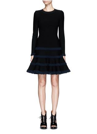 首图 - 点击放大 - AZZEDINE ALAÏA - Frise镂空条带装饰混羊毛喇叭连衣裙