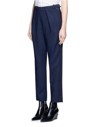 正面 - 点击放大 - BALENCIAGA - 缎面条带装饰混羊毛八分裤