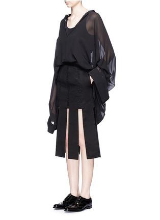 模特儿示范图 - 点击放大 - JINNNN - 单色拼接纯棉半身裙