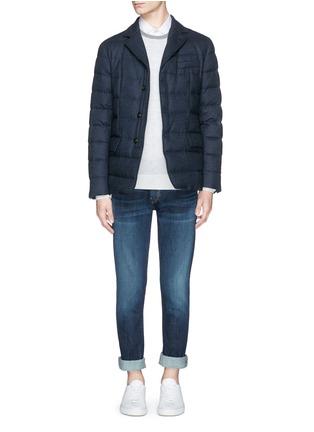 模特儿示范图 - 点击放大 - MONCLER - RODIN法兰绒西服式羽绒夹克