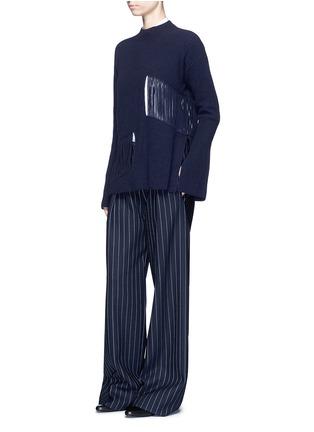 模特示范图 - 点击放大 - STELLA MCCARTNEY - 条状镂空羊绒混羊毛针织衫
