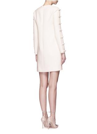 背面 - 点击放大 - Valentino - 蝴蝶结装饰单色羊毛混丝绉绸连衣裙