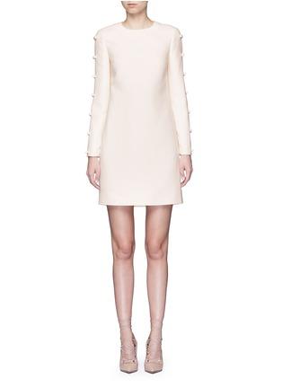 首图 - 点击放大 - Valentino - 蝴蝶结装饰单色羊毛混丝绉绸连衣裙
