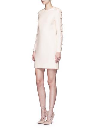 模特示范图 - 点击放大 - Valentino - 蝴蝶结装饰单色羊毛混丝绉绸连衣裙
