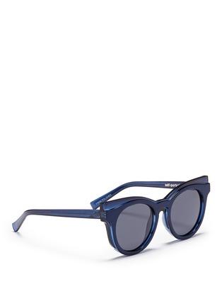 模特示范图 - 点击放大 - SELF-PORTRAIT - x Le Specs EDITION 3拼接板材Wayfarer太阳眼镜