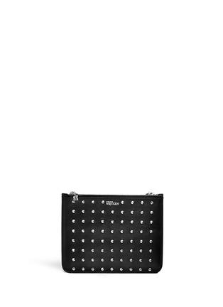 首图 - 点击放大 - Alexander McQueen - 'Bysin' facet stud double zip leather pouch