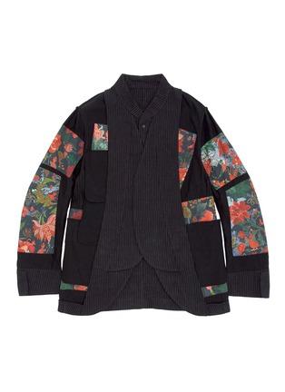 - ZIGGY CHEN - 棉麻条纹立领外套