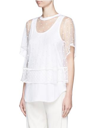 正面 - 点击放大 - CHLOÉ - 刺绣装饰薄纱T恤