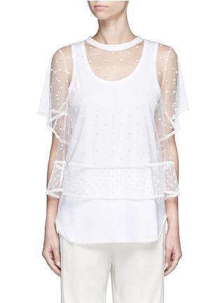 首图 - 点击放大 - CHLOÉ - 刺绣装饰薄纱T恤