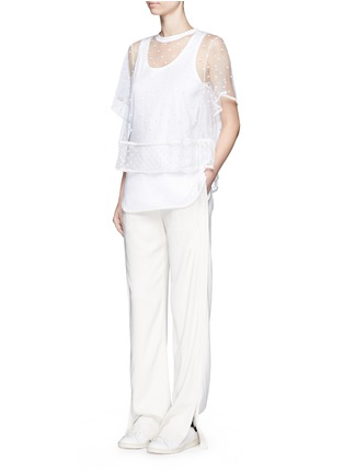 模特示范图 - 点击放大 - CHLOÉ - 刺绣装饰薄纱T恤