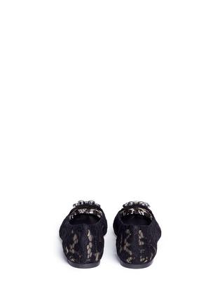 背面 - 点击放大 - DOLCE & GABBANA - 蕾丝仿水晶平底鞋