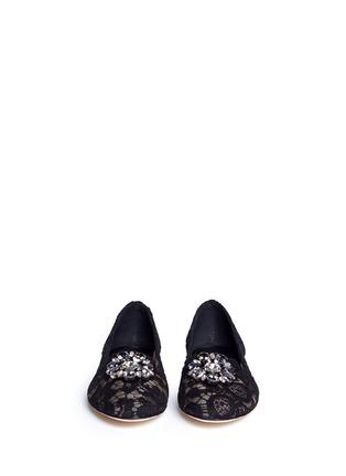 正面 -点击放大 - DOLCE & GABBANA - 蕾丝仿水晶平底鞋