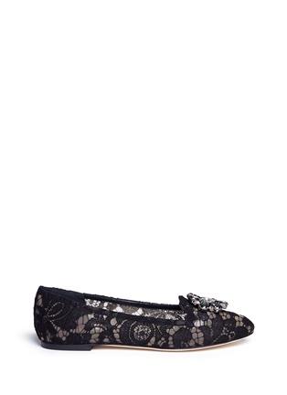 首图 - 点击放大 - DOLCE & GABBANA - 蕾丝仿水晶平底鞋