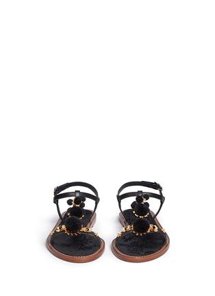 正面 - 点击放大 - DOLCE & GABBANA - 绒球花卉装饰平底凉鞋