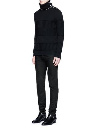 模特儿示范图 - 点击放大 - GIVENCHY - 搭带装饰棉质修身牛仔裤