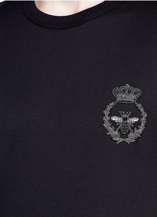 细节 - 点击放大 - DOLCE & GABBANA - 蜜蜂皇冠刺绣纯棉T恤