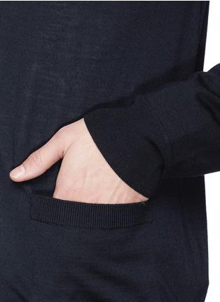 细节 - 点击放大 - FAÇONNABLE - Cable knit shoulder stripe wool cardigan