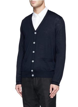 正面 -点击放大 - FAÇONNABLE - Cable knit shoulder stripe wool cardigan