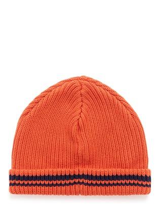 模特儿示范图 - 点击放大 - SCOTCH & SODA - 拼色条纹纯棉针织帽
