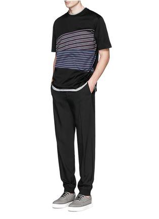 模特儿示范图 - 点击放大 - LANVIN - 条纹拼接纯棉T恤