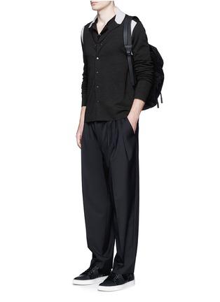 模特儿示范图 - 点击放大 - LANVIN - 拼色羊毛混丝针织外套
