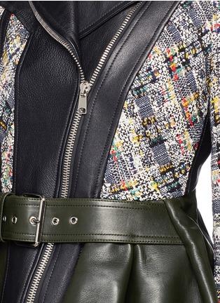 细节 - 点击放大 - ALEXANDER MCQUEEN - 牛皮拼羊皮短款机车夹克