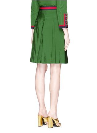 背面 - 点击放大 - GUCCI - 条纹罗缎褶裥半身裙