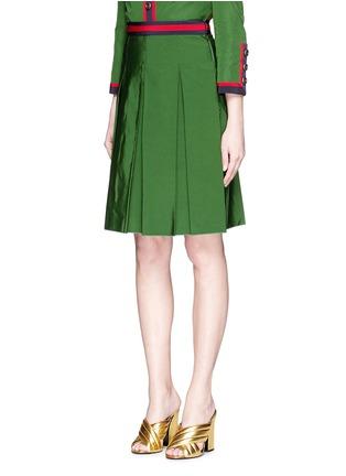 正面 -点击放大 - GUCCI - 条纹罗缎褶裥半身裙