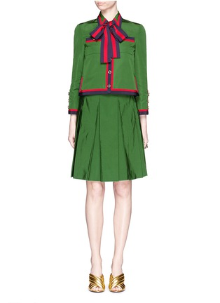 模特儿示范图 - 点击放大 - GUCCI - 条纹罗缎褶裥半身裙
