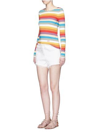 模特示范图 - 点击放大 - CHLOÉ - 彩色条纹拼色纯棉上衣