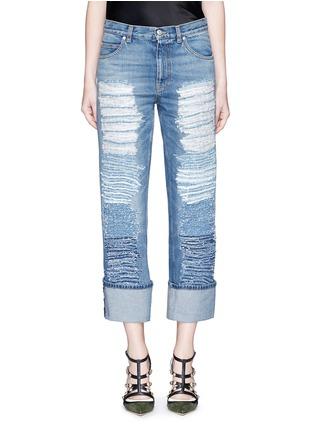 细节 - 点击放大 - Alexander McQueen - 布块拼贴装饰水洗牛仔裤