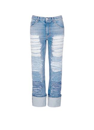 首图 - 点击放大 - Alexander McQueen - 布块拼贴装饰水洗牛仔裤