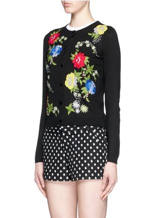 正面 - 点击放大 - alice + olivia - 花卉刺绣纯棉针织外套