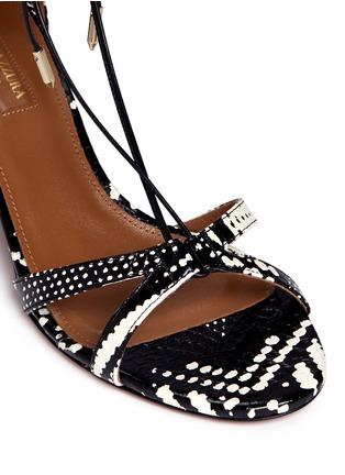 细节 - 点击放大 - AQUAZZURA - Beverly Hills交叉系带蛇皮粗跟鞋