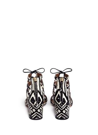 背面 - 点击放大 - AQUAZZURA - Beverly Hills交叉系带蛇皮粗跟鞋