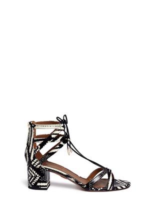 首图 - 点击放大 - AQUAZZURA - Beverly Hills交叉系带蛇皮粗跟鞋