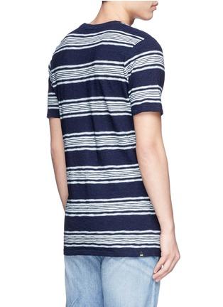 背面 - 点击放大 - DENHAM - 拼色粗细横纹纯棉T恤