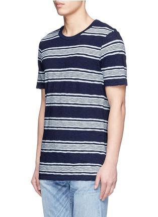 正面 -点击放大 - DENHAM - 拼色粗细横纹纯棉T恤