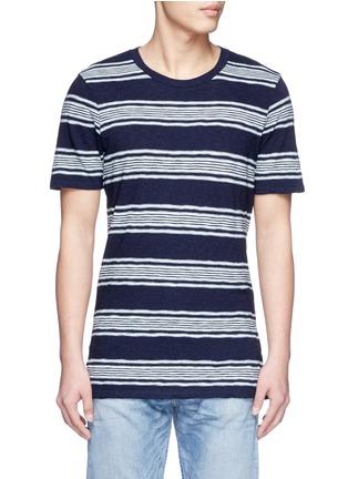 首图 - 点击放大 - DENHAM - 拼色粗细横纹纯棉T恤