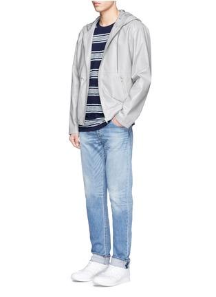 模特儿示范图 - 点击放大 - DENHAM - 拼色粗细横纹纯棉T恤