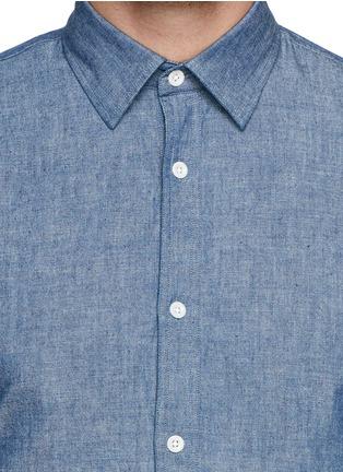 细节 - 点击放大 - HARDY AMIES - 纯棉牛仔衬衫