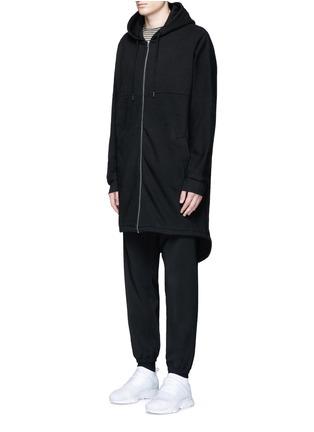 正面 -点击放大 - T BY ALEXANDER WANG - 单色混棉长款连帽卫衣