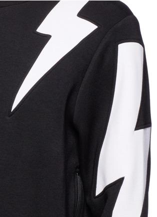 细节 - 点击放大 - NEIL BARRETT - 拼色闪电图案卫衣