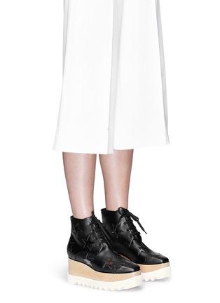 模特儿示范图 - 点击放大 - STELLA MCCARTNEY - ELYSE星星装饰坡跟系带鞋