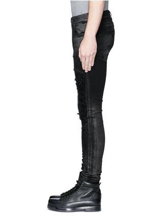 细节 - 点击放大 - AMIRI - 金属涂层磨破补丁修身牛仔裤