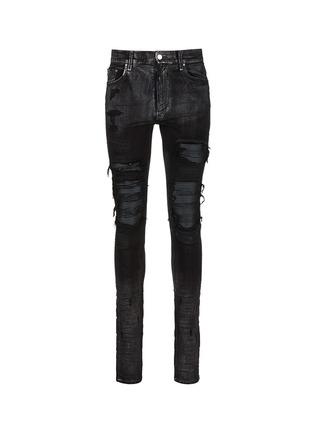 首图 - 点击放大 - AMIRI - 金属涂层磨破补丁修身牛仔裤